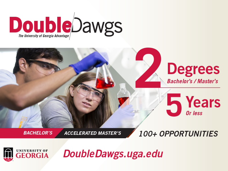 Photo card of UGA Double Dawg logo. 100+ opportunities. Www.doubledawgs.uga.edu