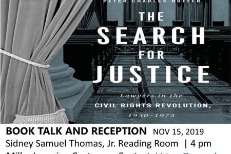 "flyer for book release reception for Peter Hoffer's book, ""The Search for Justice"""