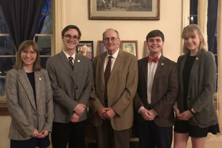 Photo of John Inscoe (middle) with Phi Kappa Literary society officers 2019